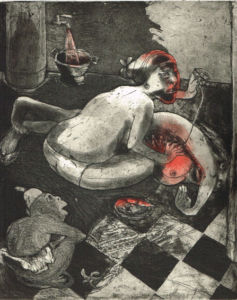 We're All Bleeding 1 (hand coloured) , 2012. Etching,aquatint, 25 x 20 cm