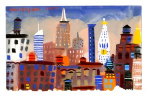 Manhattan Towers. Gouache on paper. SOLD