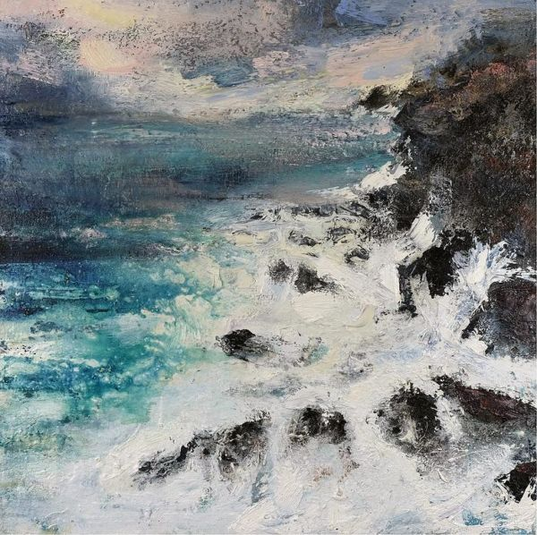 Wolf Rocks, Cornwall. Oil, sand on canvas, 90 x 90 cm. SOLD