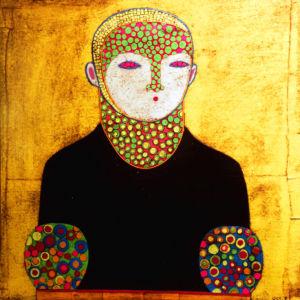 El Mago 1. Paper collage, wax on canvas, 30 x 30 cm. SOLD