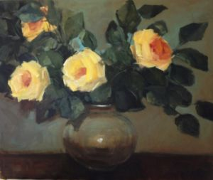 Pot of Golden Roses. Acrylic on canvas, 61 x 50.8 cm. SOLD