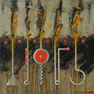 Toolbox 2. Oil on canvas, 46 x 46 cm.