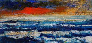 Vermilion Cloud. Mixed media on paper, 38 x 20 cm. SOLD