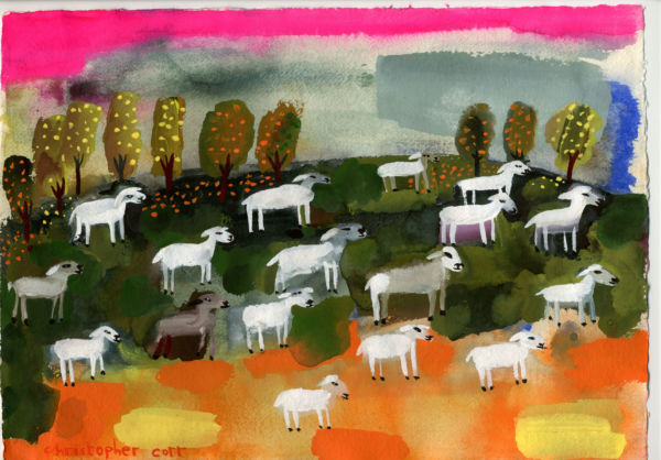 Sheep on the Sussex Downs After the Rain. Gouache on paper. SOLD