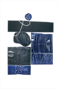 Blue and Black. Assembled linocut