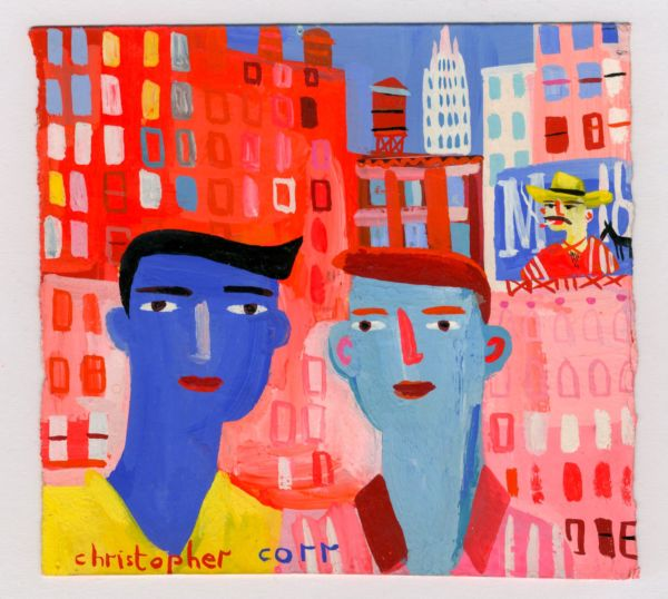 Two Friends In NYC. Gouache on paper. SOLD