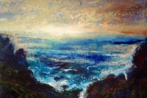 Land Sea and Sky. Mixed media on paper, 38 x 25cm. SOLD