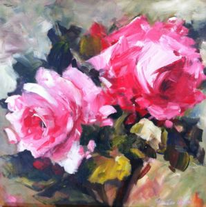 Pink Roses. Acrylic on canvas, 60 x 60 cm. SOLD