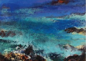 Lost in the Blue. Oil and sand on canvas, 84 x 60 cm. SOLD