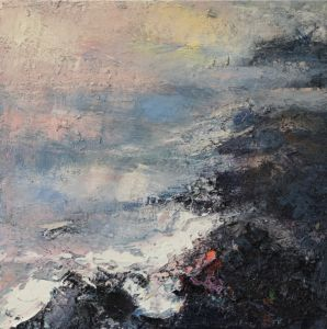 Early Light. Cornish Coastline. Oil and sand on canvas, 50 x 50 cm. SOLD