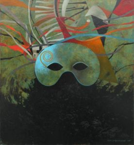 Mask 1. Oil on canvas, 46 x 46 cm. SOLD