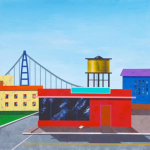 And Over the Bridge to Where the Jobs Are. Acrylic on canvas, 122 x 122 cm. 2014
