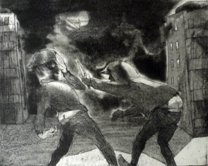 Knife Fight on the Estate. CG12. Etching aquatint, 38 x 42 cm