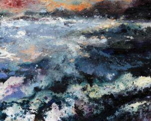 Sea with Orange Sky. Oil, sand and carborundum, 76 x 60 cm. SOLD