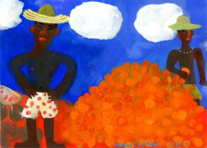 Oranges for Sale in Bahia, Brazil. Gouache on paper