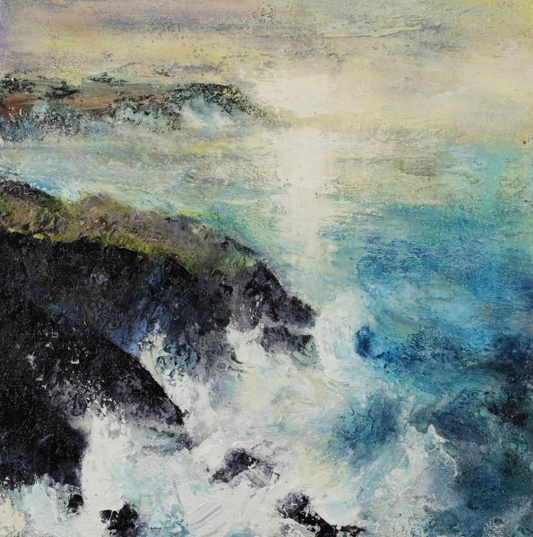Sunpath at Botallack, Cornwall. Oil and sand on canvas. 60 x 60 cm. SOLD
