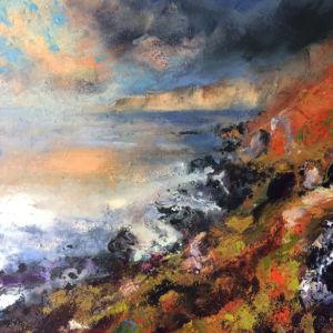 Golden Cliffs. Oil on canvas, 76 x 76 cm