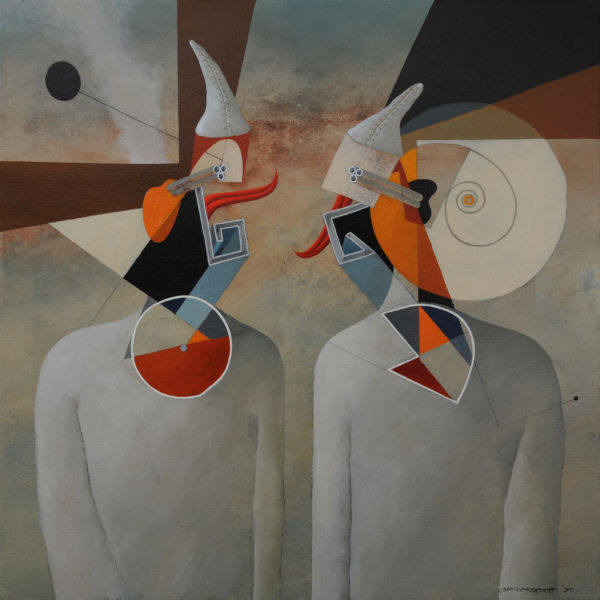 Dialogue. Oil on canvas, 85 x 85 cm, 2011. SOLD
