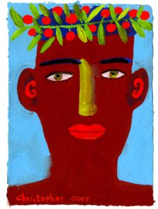 Man With Red Berries. Gouache on paper