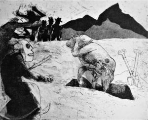 The Stoning. CG 5. Etching, aquatint, 38 x 42 cm