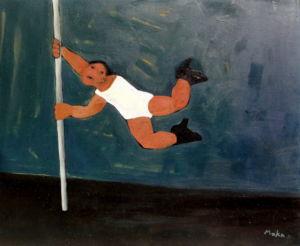 Pole Dancer. Oil on canvas, 50 x 42 cm