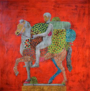 Equestrian Portrait 37. Paper collage, wax on canvas, 60 x 60 cm. SOLD