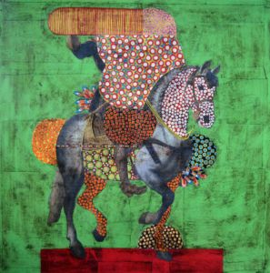 Equestrian Portrait 38. Paper collage, wax on canvas, 60 x 60 cm. SOLD
