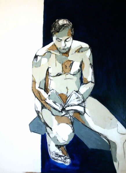 Figure Study 2. Mixed media on paper, 56 x 76 cm. SOLD
