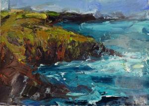 Headland Cornwall. Acrylic on paper, 38 x 32 cm. 2019