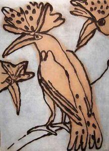 Hoopoes 2. Carborundum, 61 x 49 cm