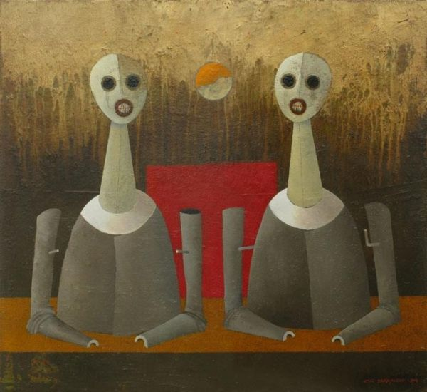 Husk Town Dwellers. Oil on canvas, 60 x 55 cm, 2009