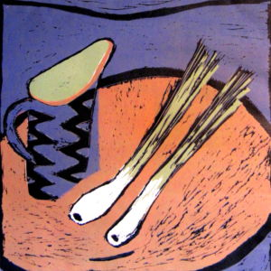 Jug and Onions. Reduction Linocut