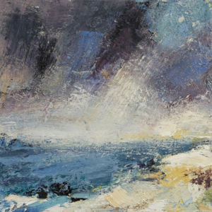 Rain at Sea. Oil and sand on canvas, 50 x 50 cm. SOLD
