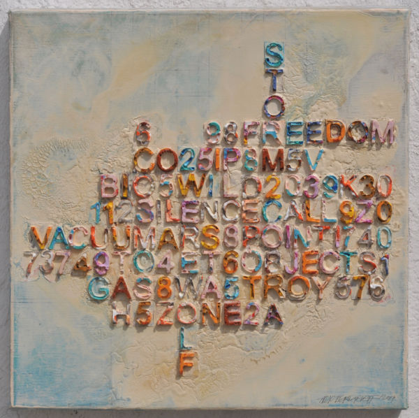 Scrabble. Mixed media on canvas, 46 x 46 cm. 2019