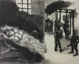 Strung Up For Lying with Another Man. CG13. Etching, aquatint, 38 x 42 cm