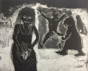 The Cutting. CG23. Etching, aquatint, 38 x 42 cm