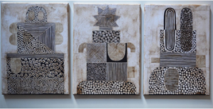 Archetype, triptych. Paper collage, wax on canvas, 40 x 90 cm. SOLD