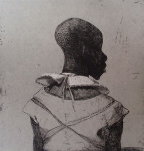 White Collar Black Man. Etching with chine colle, grey, 40 x 30 cm. SOLD