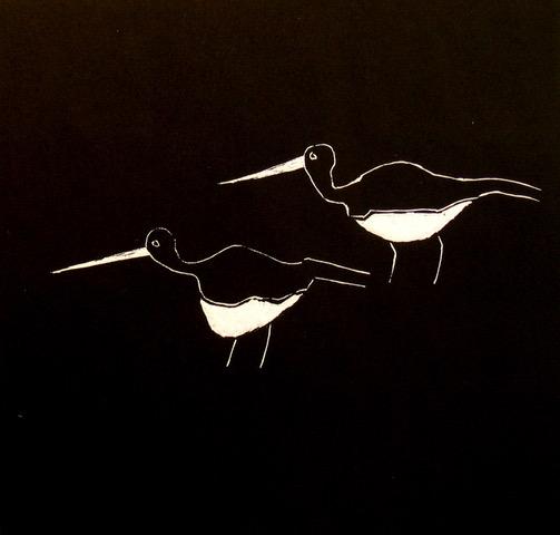 Waterbirds. Linocut