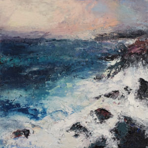 Waves at Wolf Rocks. Oil and sand on canvas. 50 x 50 cm. SOLD