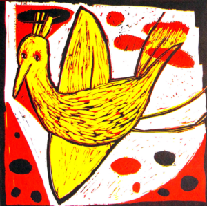 Yellow Bird. Reduction linocut, 47 x 49 cm. SOLD