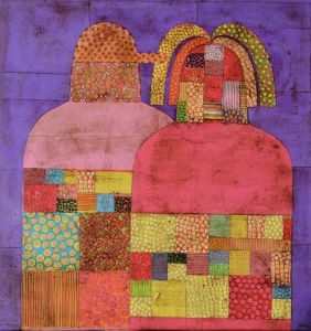 Pink Couple. Collage on canvas, 60 x 60 cm