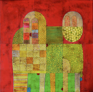 Yellow Gorilla. Collage on canvas, 60 x 60 cm