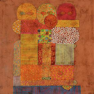 Three Heads. Collage on canvas, 60 x 60 cm