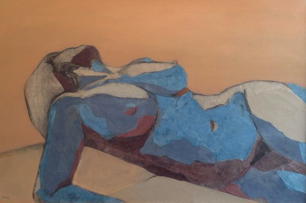 Figure as a Landscape 4. Mixed media on linen, 50 x 75 cm. SOLD
