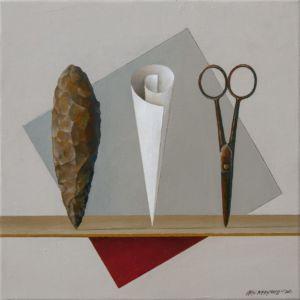 Stone Paper Scissors. Oil on canvas, 46 x 46cm. SOLD