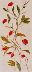 Rosehips. Drypoint, monoprint