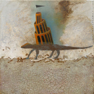 Road 1. Oil, rust on canvas, 46 x 46 cm, 2009. SOLD