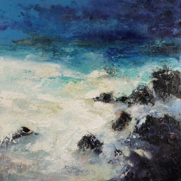 Beach of Pearls. Oil, sand on canvas, 90 x 90 cm