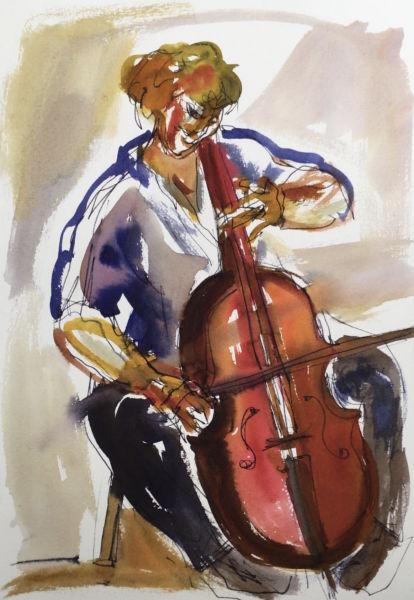 Cellist 2. Watercolour